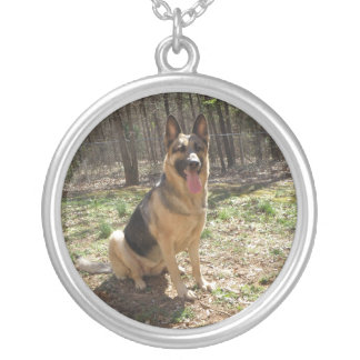 German Shepard Silver Plated Necklace