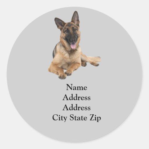 German Shepherd Address Label Round Stickers