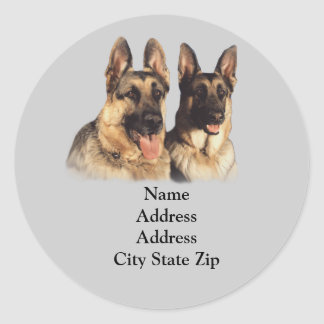 German Shepherd Address Label Classic Round Sticker