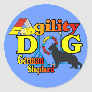 German Shepherd Agility Shirts Gifts Round Sticker