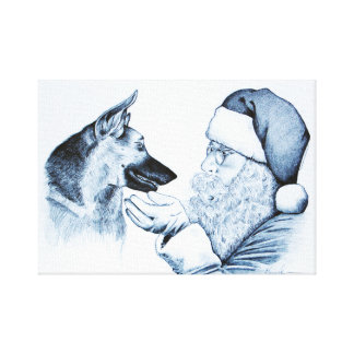 German Shepherd and Santa Claus Canvas Print