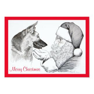 German Shepherd and Santa Claus Card