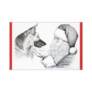 German Shepherd and Santa Claus celebrate Christma Canvas Print