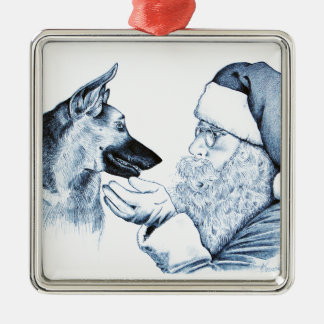 German Shepherd and Santa Claus Silver-Colored Square Decoration