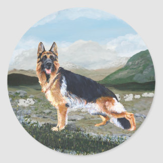 German Shepherd at Work Classic Round Sticker
