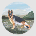 German Shepherd at Work Round Stickers