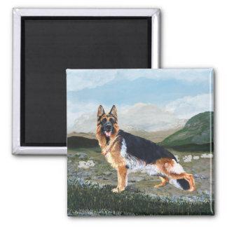 German Shepherd at Work Square Magnet
