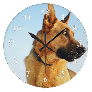German shepherd, beautiful wall clock& your photo large clock