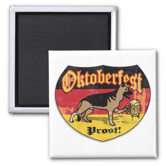 German Shepherd Bier Hound Square Magnet