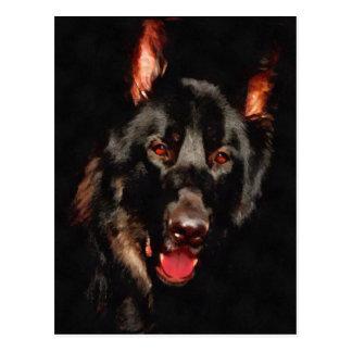 German shepherd, black dog postcard