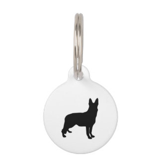 German Shepherd Black Silhouettes on White/Colors Pet Name Tag