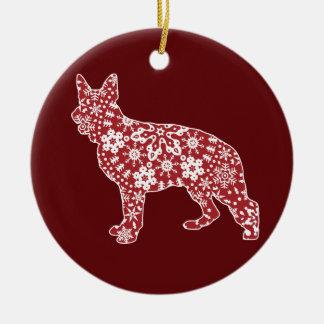 German Shepherd, Boho Christmas Round Ceramic Decoration