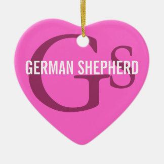 German Shepherd Breed Monogram Design Ceramic Heart Decoration