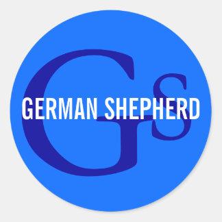German Shepherd Breed Monogram Design Round Sticker