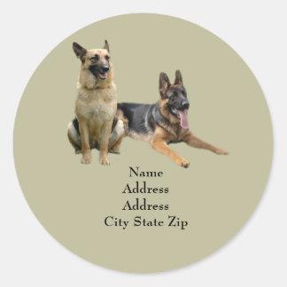 German Shepherd Buddies Address Label Classic Round Sticker