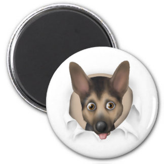 German Shepherd Busting Out 6 Cm Round Magnet