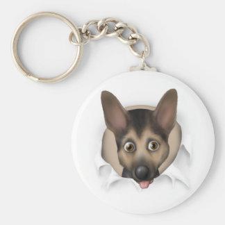 German Shepherd Busting Out Basic Round Button Key Ring