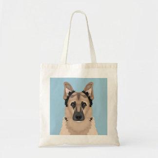 german shepherd cartoon budget tote bag