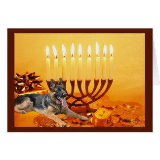 German Shepherd   Chanukah Card Menorah1