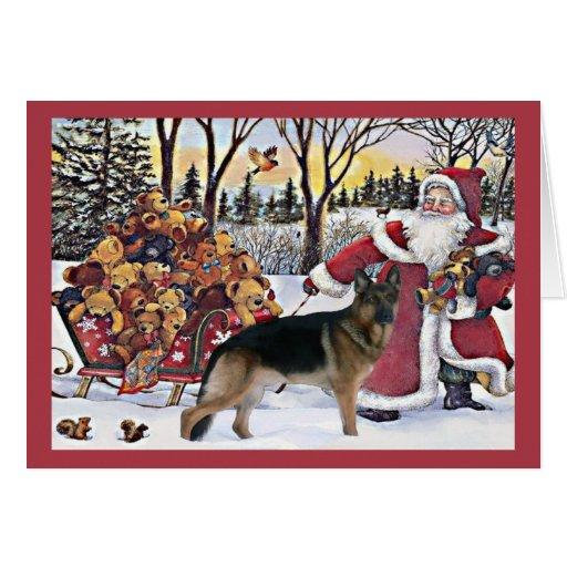German Shepherd Christmas Card Santa Bears