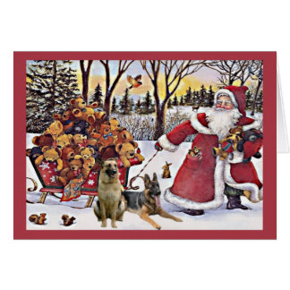 German Shepherd Christmas Card Santa Bears1