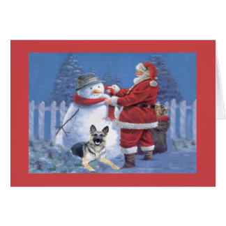 German Shepherd Christmas Card Santa Snowman