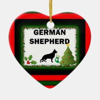 German Shepherd Christmas Ceramic Heart Decoration