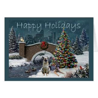 German Shepherd Christmas Evening2 Greeting Card