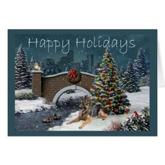 German Shepherd Christmas Evening3 Greeting Card