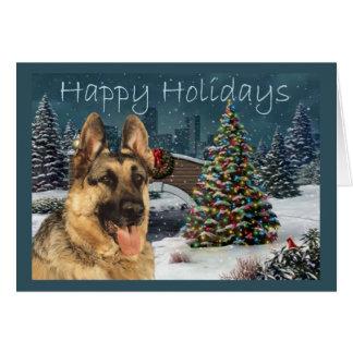 German Shepherd Christmas Evening Greeting Cards