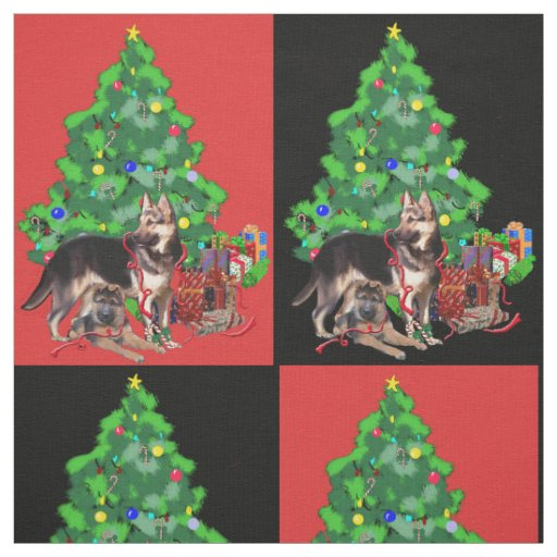 German Shepherd Christmas fabric