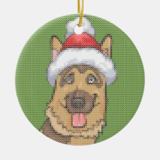 German Shepherd Christmas Knit Pattern Christmas Ornament