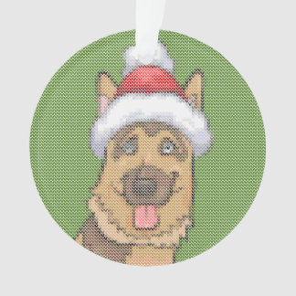 German Shepherd Christmas Knit Pattern Ornament