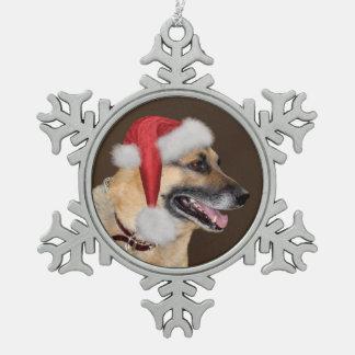 German Shepherd Christmas Snowflake Pewter Christmas Ornament