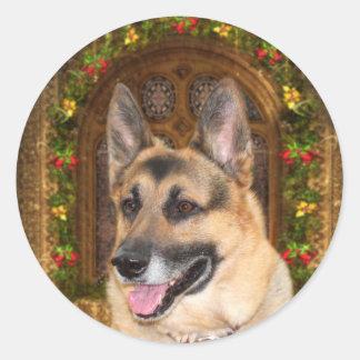 German Shepherd Christmas Round Sticker