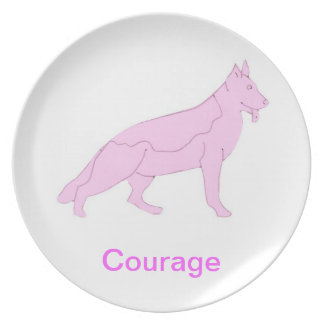 German Shepherd Courage Cancer Awareness Plate