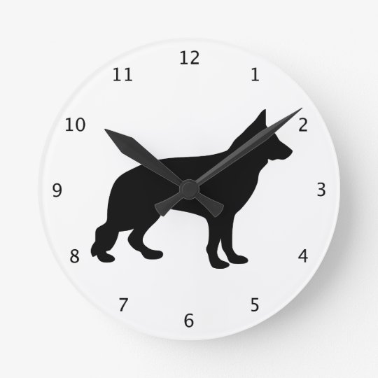 German Shepherd dog black silhouette, alsatian Round Clock