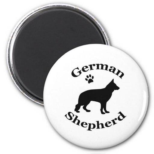 german shepherd dog black silhouette paw print magnets