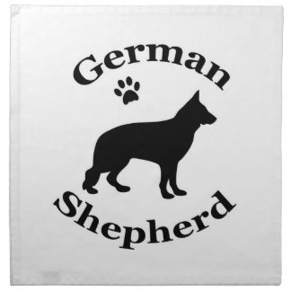 German Shepherd dog black silhouette paw print Napkin
