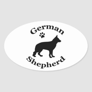german shepherd dog black silhouette paw print oval sticker