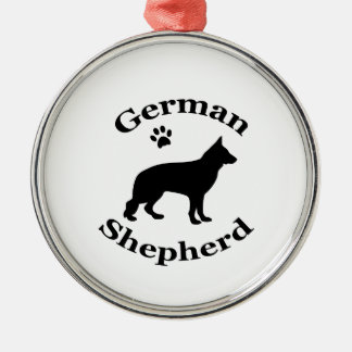 German Shepherd dog black silhouette paw print Silver-Colored Round Decoration