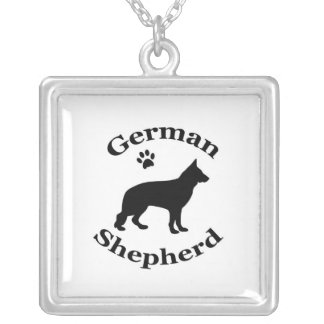 German Shepherd dog black silhouette paw print Silver Plated Necklace
