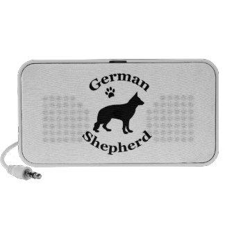 German Shepherd dog black silhouette paw print Notebook Speakers