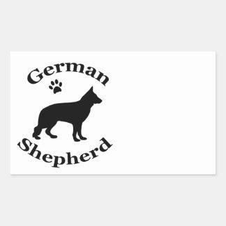 german shepherd dog black silhouette paw print rectangular sticker