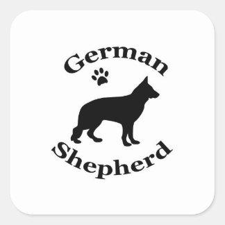 german shepherd dog black silhouette paw print square sticker