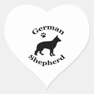 german shepherd dog black silhouette paw print heart sticker