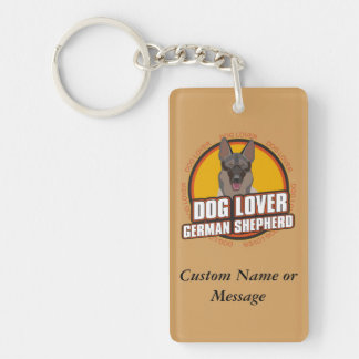 German Shepherd Dog Breed Lover Custom Name Double-Sided Rectangular Acrylic Key Ring