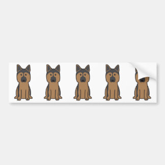German Shepherd Dog Cartoon Bumper Sticker