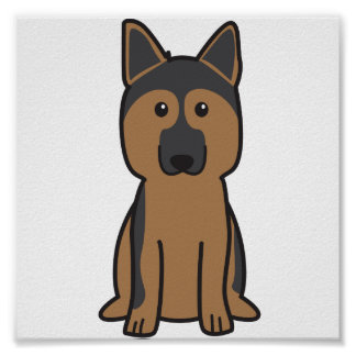 German Shepherd Dog Cartoon Poster
