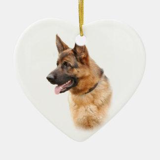 German shepherd dog ceramic heart decoration